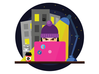 Working Time work night design character illustration graphic