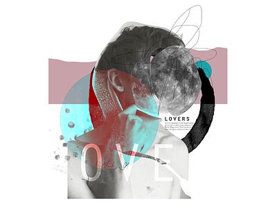 lovers print mixedmedia collage illustration art graphic