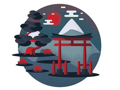 Torii Gate lotus mountains nature torii gates gates torii japan illustration vector graphic