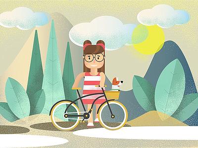 Berta and Arturo vector travel sunny day sun nature illustration graphic girl dog bike