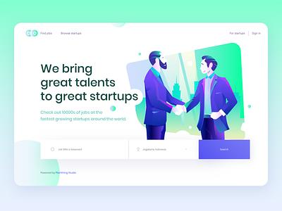 CEO Global freelancing platform - Hero Concept work online design ui landing page vector character illustration flat