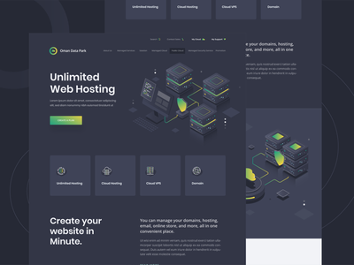 Oman Data Park - Landing Page building isometric illustration clean design clean ui dark mode dark ui ui  ux user experience user interface internet hosting template server green proxy database hosting landing page