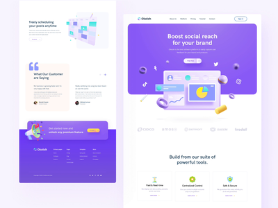 Okelah - Track Social Media Perfomace Landingpage saas website 3d illustration 3d animation admin saas saas landing page webdesign uidesign hero illustration ui animation 3d landing page analytics chart analytic