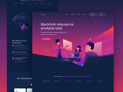 Tabtimize - Backlink relevance analysis tool illustration flat vector ux ui analysis analytic backlink design landing page