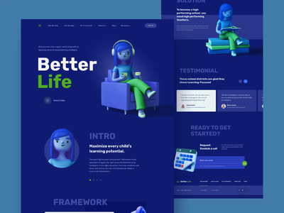 Better Life - Learning center lading page design concept dark theme ui ux web design ux ui 3d 3d character education website learning platform learning center landing page