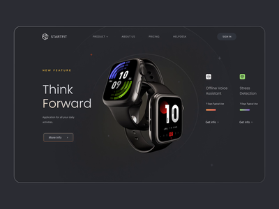 Startfit - Landing page design for smartwatch health tracker apple watch design activity tracker dark theme ui design ui  ux 3d website web design landing page productivity app fitness app watch app smartwatch