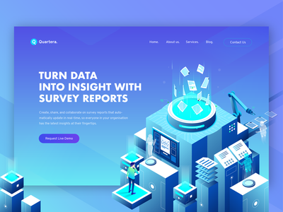 Hero Illustration for Online Survey Software concept hero illustration survey data analytics building illustration isometric