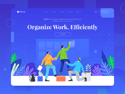BeClub - Project Management Header ui design lists gradient task project illustration character flat vector management header illustration
