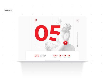 POP UP Sarajevo • UI UX sculpture website minimal flat animation web icon home page ux ui vector typography logo illustration graphic festival design branding app advertising
