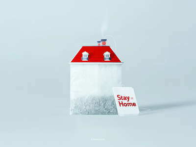Tea House #StayHome british great britain photo manipulation tea bag safe stay home covid house family home cup of tea tea graphic design typography advertising vector logo branding design illustration