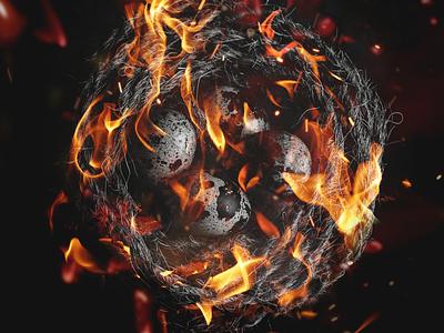 Australia's Wildfires •  The Nest in The Fire save birds photomanipulation home prayforaustralia design artwork help fires donate bushfires animals illustration colour poster rope fire nest bushfire australia