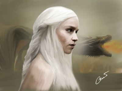 Digital Drawing Daenerys Targaryen  • Game of Throne graphic digital painting digitalart drawing got ux ui photoshop shot art mother of dragons khaleesi dragon ipad design illustration graphic design game of throne