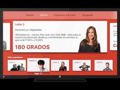 Radio 3 Últimos tvOS rtve 180-grados design app red radio radio3 tvos