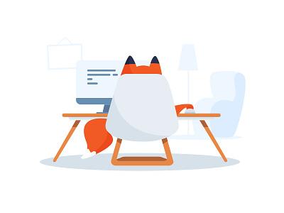 Home Office web mac furniture working illustration fox office cute