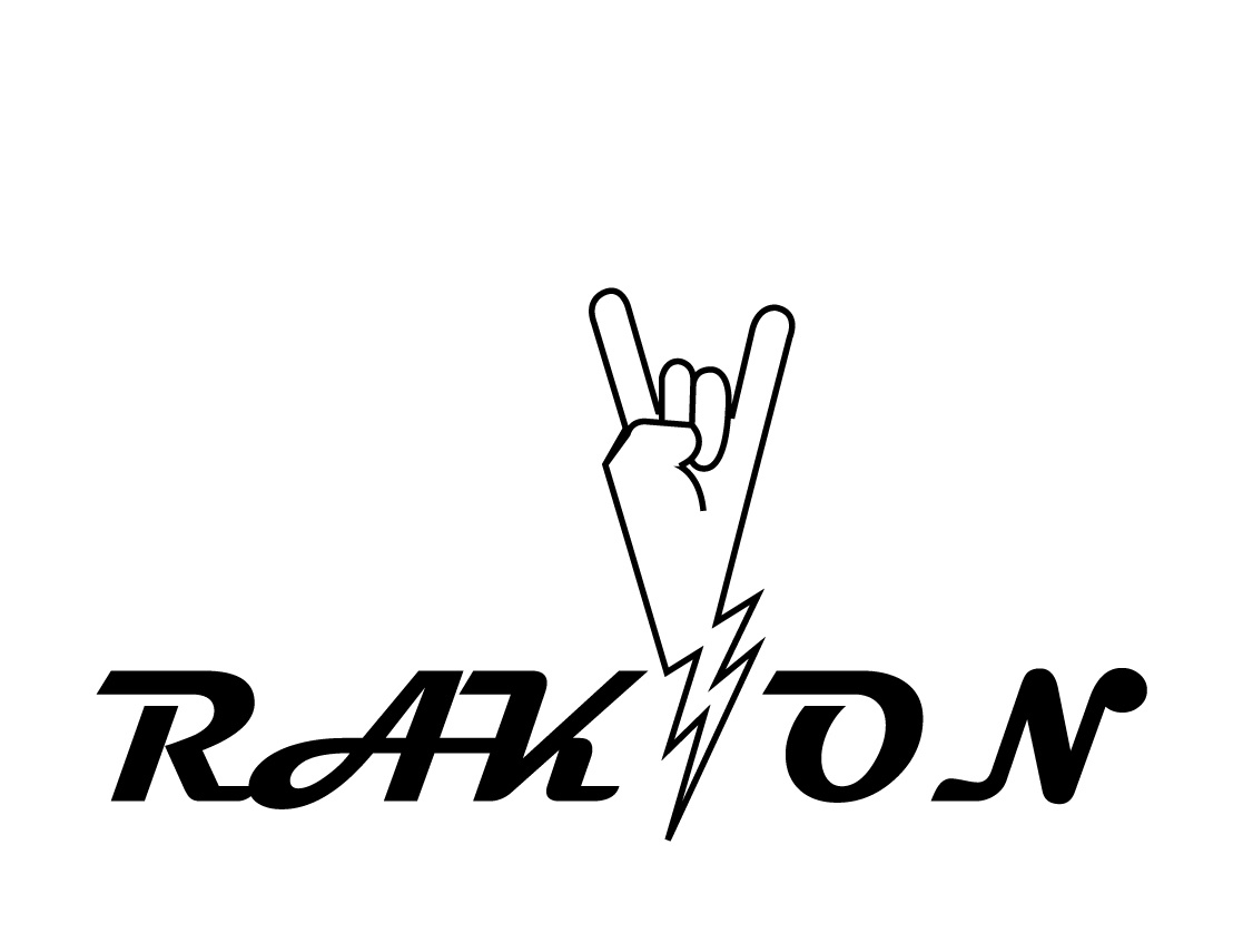 Rak On manufacture cool art strong thunder instrument electric guitar gesture hand rocknroll music typography illustration design logo shape symbol sign