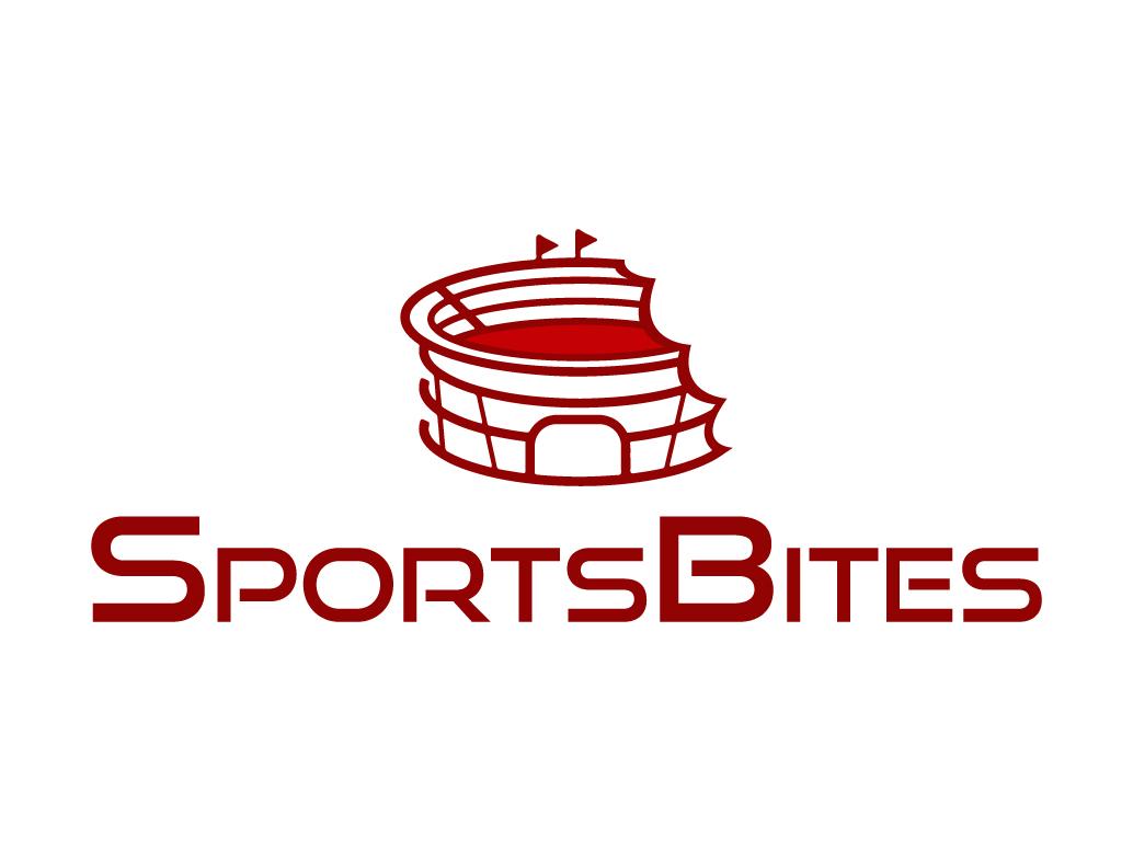 Sportbites logo bite news journalism sports building architecture stadium vector icon branding shape flat brand typography symbol sign design logo