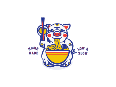 Round 1 option. Ramen shop logo illustration. Beckoning Pig. logo restaurant noodles japanese pig ramen pittsburgh branding vector