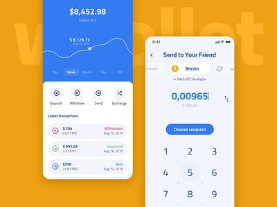 Whollet - Free UI Kit Crypto Wallet clean mobile app money menu balance amount graph dashboad login bitcoin transaction finance blockchain wallet crypto ui kit
