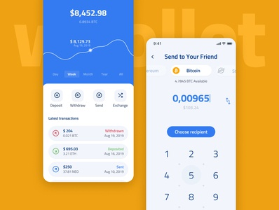 Whollet - Free UI Kit Crypto Wallet clean mobile app money menu balance amount graph dashboad login bitcoin transaction finance blockchain wallet crypto ui kit