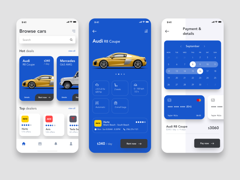 Car rental app by Sava Simeunovic on Dribbble