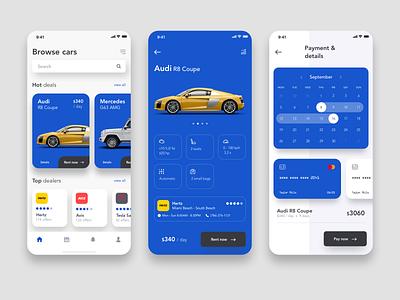 Car rental app blue ux ui ios card creditcard calendar audi car rental rental rent car car app car booking car app design app