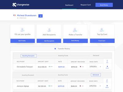 Dashboard design Xchangewise transactions history transfers banking dashboard
