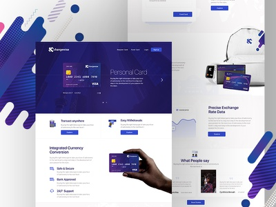 Xchange wise card Landing page currency transfer card finance money banking home page landing