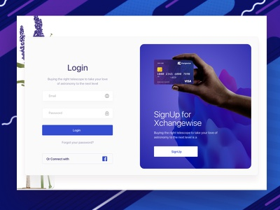 login-concept for xchangewise credit card sign signup graphic purple landing page finance tech banking login