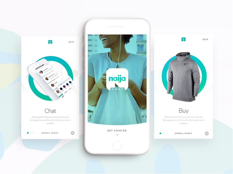 Chat app concept design logo concept mobile profile onboarding create button app chat shopping ecommerce