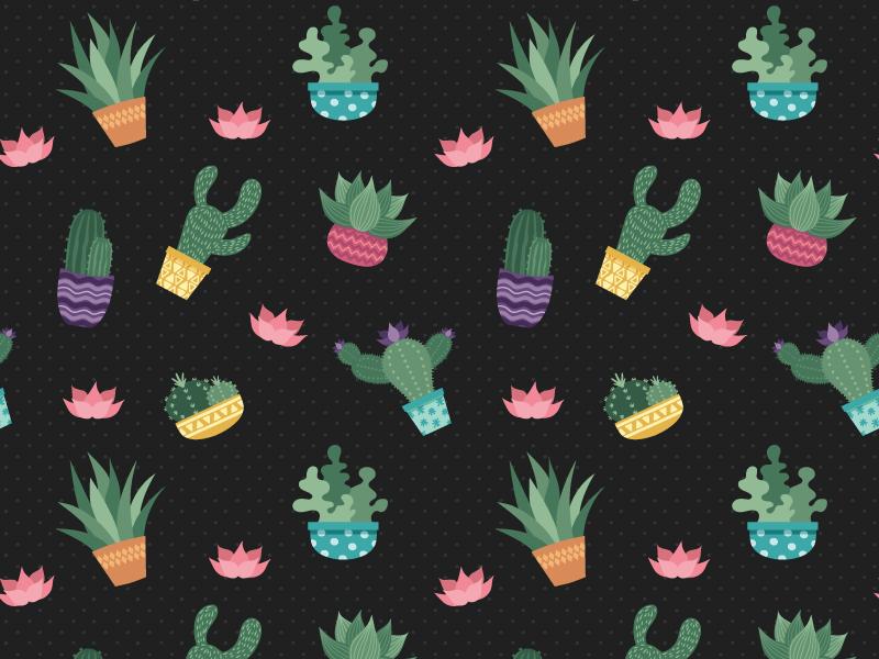 Cactus Pattern - Dark Version floral dots polka free freebie succulent pattern surface seamles cactus