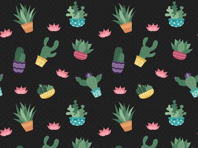 Cactus Pattern - Dark Version