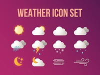 Weather Icon Set sunny cloudy snow wind sun clouds forecast app web vector icons weather
