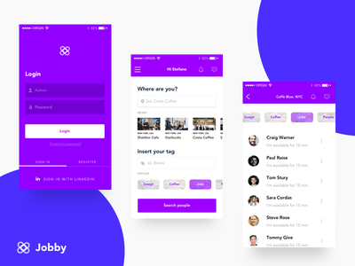 Jobby - Instant dating ux ui design design colors iphone minimal job app