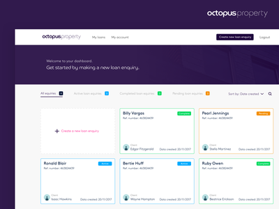 Octopus Property - Broker Flow ui dashboard minimal card ui design product design white blue dashboard flow financial fintech