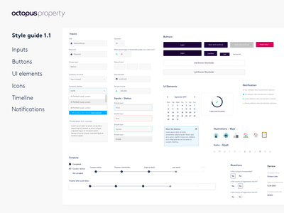 Octopus Property - Style Guide V1.1 dashboard elements digital design product design white design system style guide
