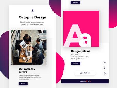 Rebound: Design At 🐙🔬 landing page fintech ui minimal product design purple octopus design design system