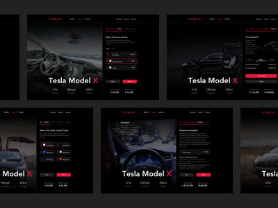 Tesla - Design your Model X automotive minimal black dark shopping tesla car tesla web design colors ui design product design