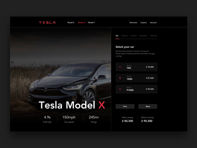 Tesla - Design your Model X / Animation automotive dark web design principleapp principle prototype animation design motion animation tesla car tesla product design