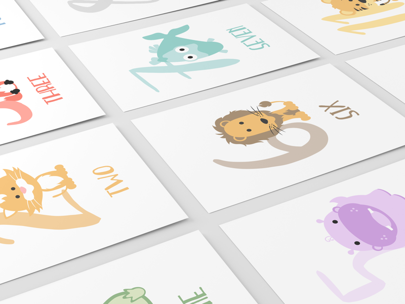 Numbers Flashcards illustrations animals counting numbers