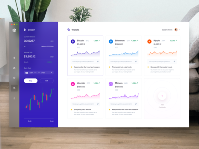 Cryptocurrency Trading App Wallet money portfolio income finance app dashboard ui desktop crypto exchange crypto dashboard crypto trading crypto wallet cryptocurrency monero litecoin ripple ethereum bitcoin services bitcoin bitcoin wallet