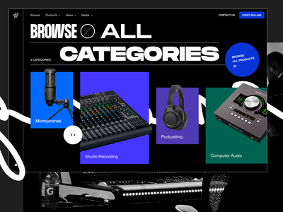 Exploration: Audio equipment landing page 2 online store landing page typography audio interface mixer audio gear audio equipments headphone microphone podcast music
