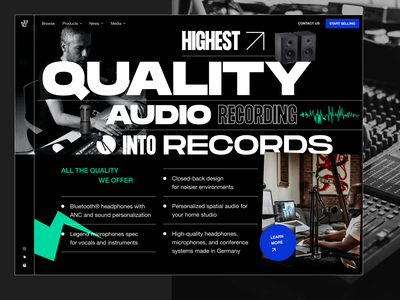 Exploration: Audio equipment landing page 3 music producer music podcast microphone headphone audio equipment audio gear mixer audio interface typogaphy landing page online store