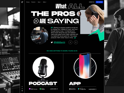 Exploration: Audio equipment landing page 4 online store typogaphy audio interface audio equipment headphone microphone podcast music producer