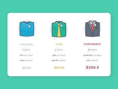 Pricing UI tshirt cloth price illustration hosting pricing icon ui