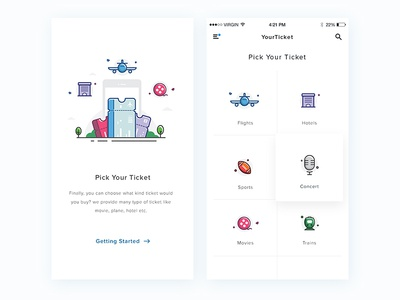 Ticket apps line icon clean homepage walkthrough onboarding icons illustration ticket