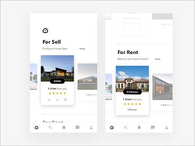 Properties app card minimal real estate properties house app mobile android ios
