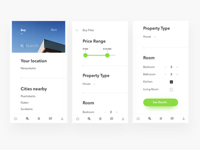 Properties app search screen card minimal real estate properties house app mobile android ios filter search