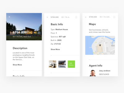 Property App details screens userflow map ios android mobile app house properties real estate minimal card