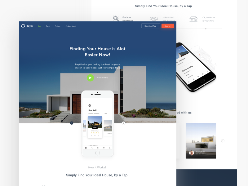 Properties app landing page real estate property house app minimal website desktop page landing