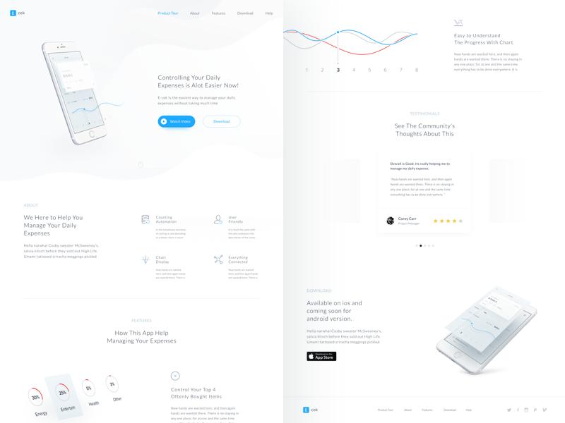 Finance App Landing chart landing white minimalist website mobile finance